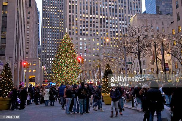 People viewing the Christmas tree at Rockefeller Center at dusk, New York, NY, USA