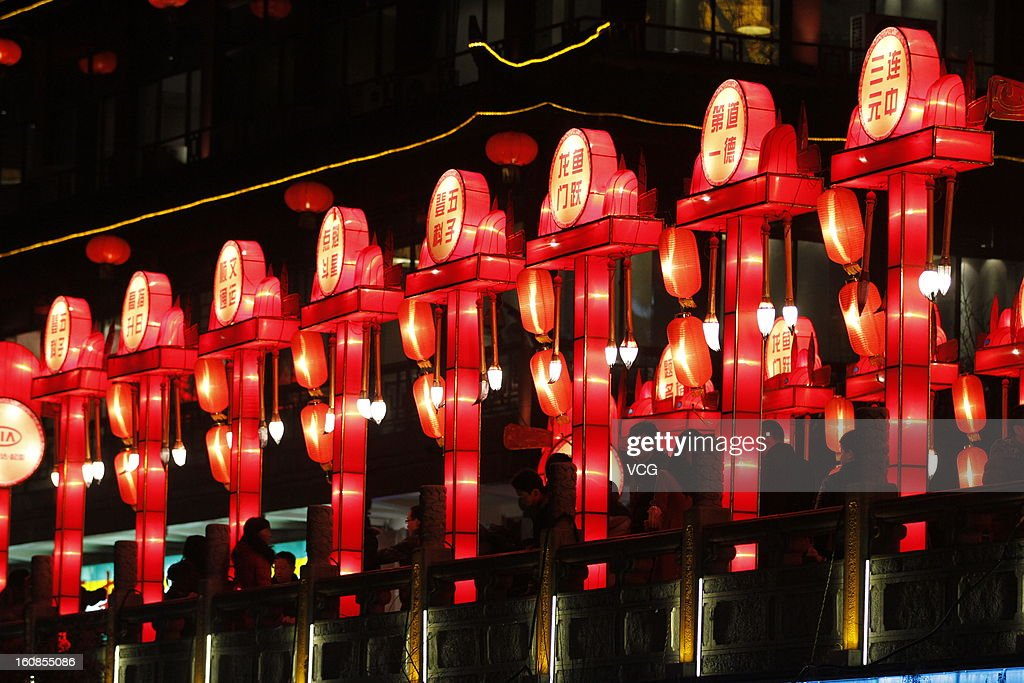 People visit a lantern show at Confucius Temple on February 6, 2013 in Nanjing, China. Fall on February 10 this year, the Chinese Lunar New Year, also known as the Spring Festival, which is based on the Lunisolar Chinese calendar, will be celebrated from the first day of the first month of the lunar year and ends with Lantern Festival on the Fifteenth day.