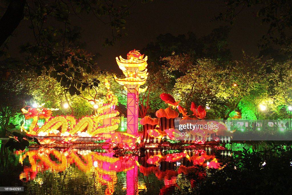 People visit a lantern show to celebrate the Spring Festival on February 17, 2013 in Guangzhou, China. The Chinese Lunar New Year of Snake also known as the Spring Festival, which is based on the Lunisolar Chinese calendar, is celebrated from the first day of the first month of the lunar year and ends with Lantern Festival on the Fifteenth day.