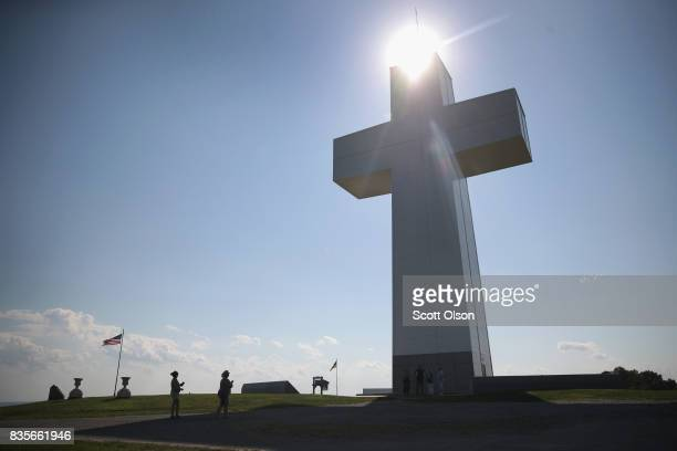 People visit Bald Knob Cross for Peace on August 19 2017 near Alto Pass Illinois Organizers expect more than 700 guests to view to view the solar...
