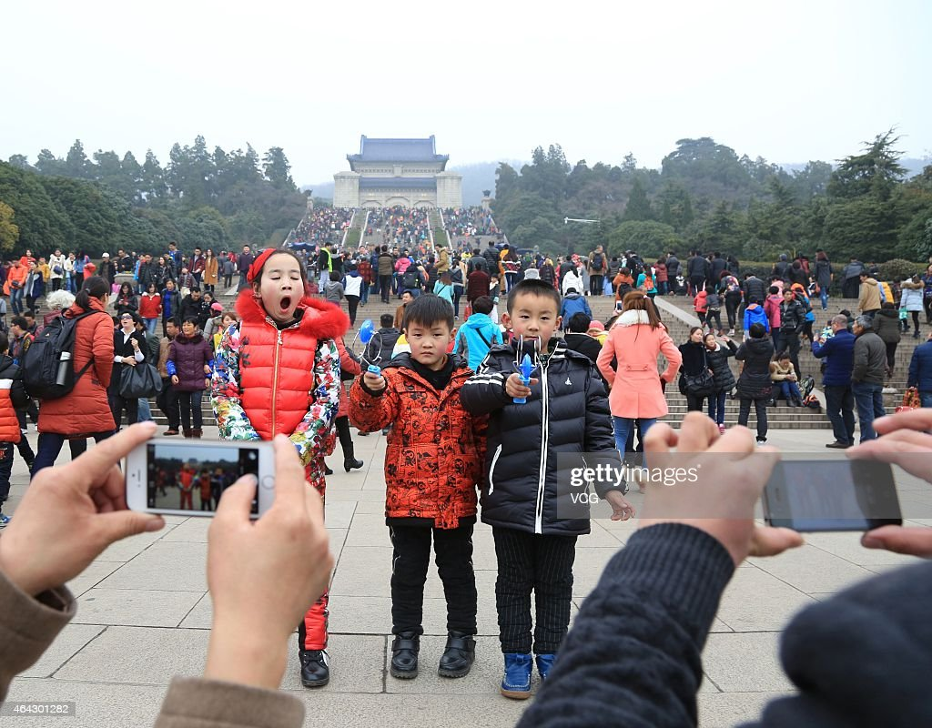 People visit Dr. Sun Yat-sen's Mausoleum on February 22, 2015 in Nanjing, Jiangsu province of China. Dr. Sun Yat-sen's Mausoleum is full of tourists during the 4th day of Spring Festival on Sunday in Nanjing.