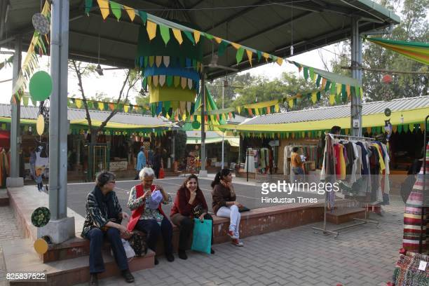 People visit Kisan Haat Andheria Modh Anuvrat Marg Desu Colony on February 18 2015 in New Delhi India