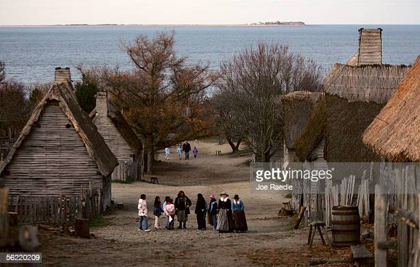 People visit the 1627 Pilgrim Village at 'Plimoth Plantation' where roleplayers portray Pilgrims seven years after the arrival of the Mayflower...