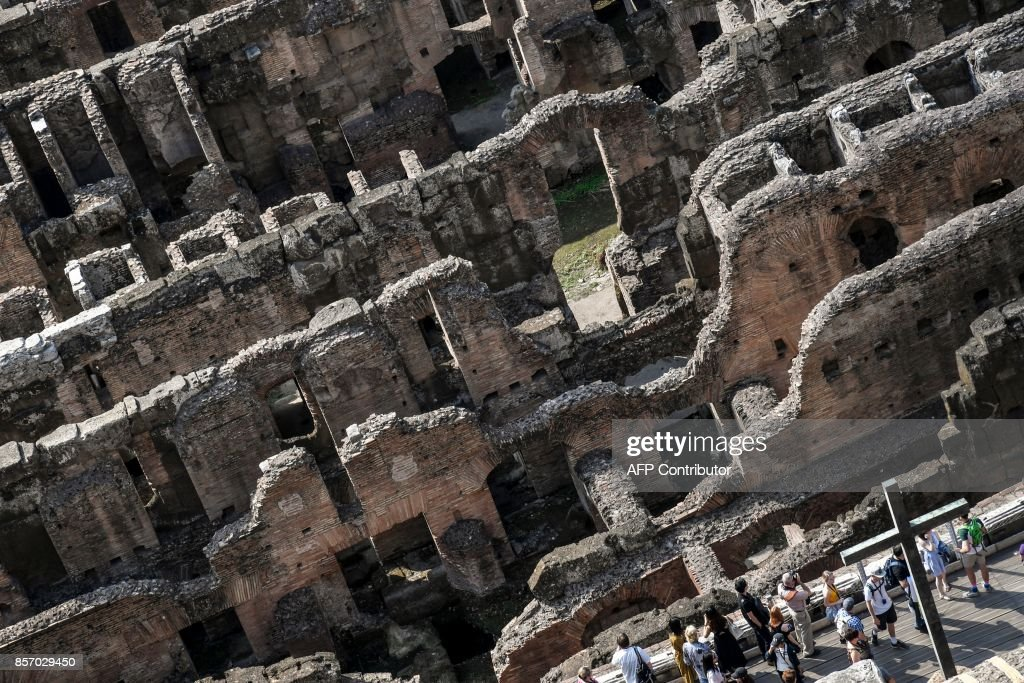 Visitors at Rome's Colosseum as the fourth and fifth levels of the monument are opened to the public for the first time