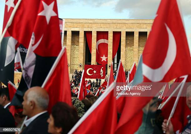 People visit the Anitkabir mausoleum of Mustafa Kemal Ataturk who is founder of the Republic of Turkey during the 77th anniversary of Ataturk's death...