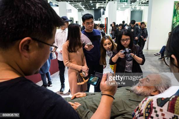 People visit the Art Basel Hong Kong on its first day open to the public on March 23 2017 in Hong Kong The fifth annual Art Basel in Hong Kong opened...