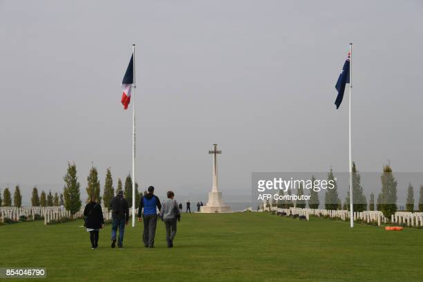 People visit the Australian National Memorial on September 26 2017 in VillersBretonneux northern France This memorial is the main memorial to...