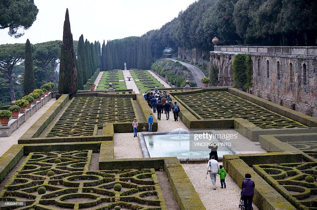 People visit the Belvedere in the gardens of pope's summer residence of Castel Gandolfo, south of Rome, on March 22, 2014 in Castel Gandolfo. From March 1st, the gardens surrounding the papal summer residence are open to the public. Located south of Rome in the Alban hills, the property includes the extensive Barberini gardens, the remains of a Roman villa and a 62 acre farm, as well as the ancient papal palace. A statement from the director of the Vatican Museums says it was Pope Francis himself who decided to make accessible to all the gardens of the Pontifical Villas. A guided tour of the gardens, in Italian or English, will be available to individuals or groups through an online booking system. CREDIT 'AFP PHOTO/VINCENZO PINTO' - NO