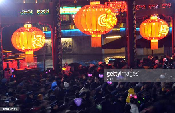 People visit the Confusius Temple on the Lantern Festival on February 6 2012 in Nanjing Jiangsu Province of China The Lantern Festival which falls on...