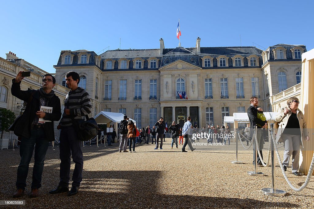 People visit the Elysee Presidential Palace during the 30th edition of France's European heritage days on September 15, 2013 in Paris, France. Monuments and state buildings are opened for free for two days to the public.