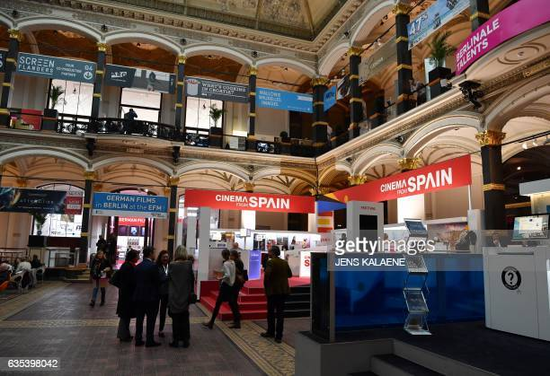 People visit the European Film Market at MartinGropiusBau in Berlin on February 15 2017 The EFM taking place on the sidelines of the Berlinale Berlin...