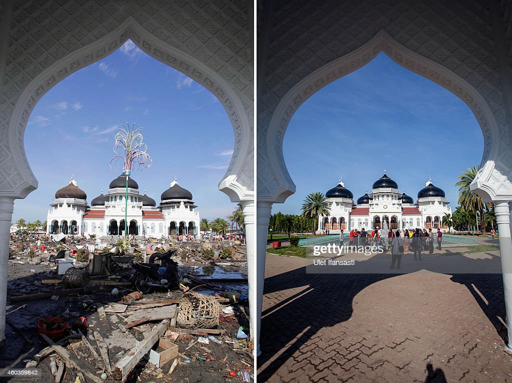 In this composite image a comparison has been made between a scene in 2004 and 2014 BANDA ACEH INDONESIA DECEMBER 11 People visit the Grand Mosque...