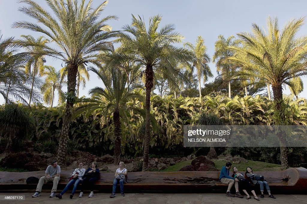 People visit the Inhotim Centre for Contemporary Art in Brumadinho some 60 km from Belo Horizonte southeastern Brazil on August 11 2015 Considered...