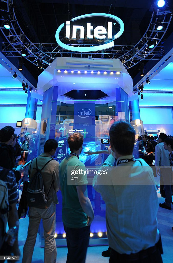 People visit the Intel display at the Consumer Electronics Show in Las Vegas, Nevada on January 9, 2009.