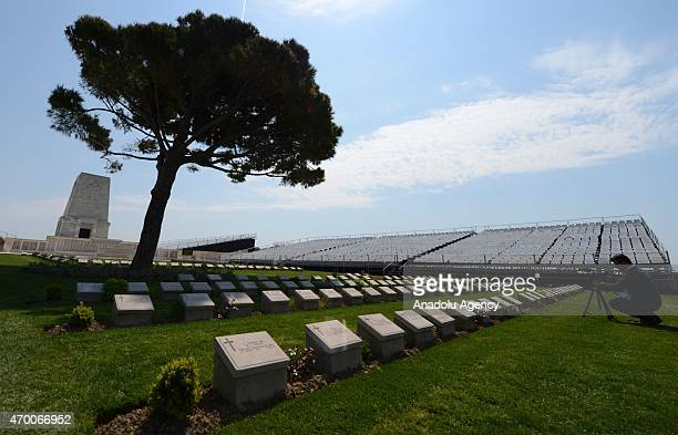 People visit the Lone Pine cemetery on April 17 2015 before the commemoration ceremonies of the 100th anniversary of the Canakkale Land Battles which...