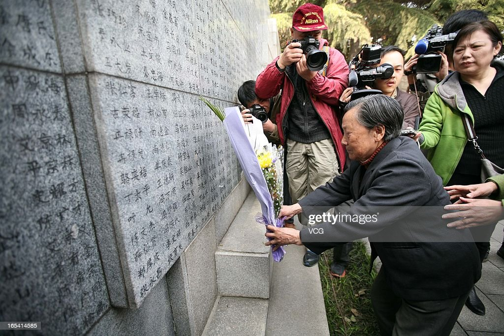 People visit the Memorial Hall of the Victims in Nanjing Massacre on April 4, 2013 in Nanjing, Jiangsu Province of China. Qingming Festival, also known as the 'Tomb Sweeping Day', which falls on April 4 this year, is a traditional time when people pay their respects to the deceased and ancestors, involving cleaning, repairing of tombs and sacrifice activities.