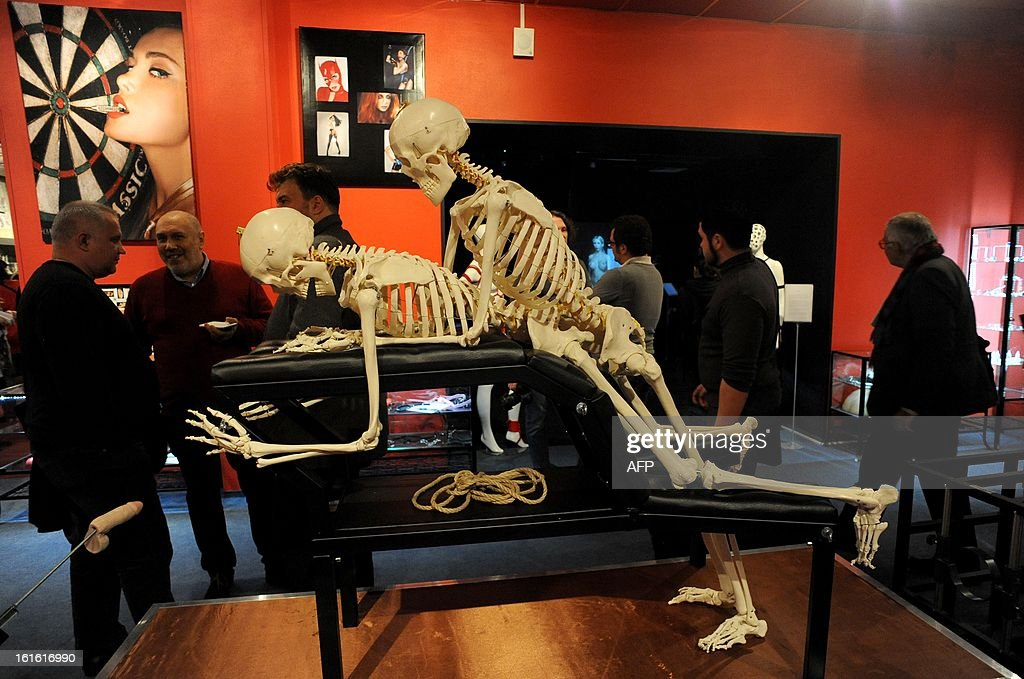 People visit the 'MuzEros', a museum of erotica, shortly after its opening in the Russia's second city of St. Petersburg, on February 13, 2013. The museum exhibits a collection of sexual artifacts from around the world, the museum organizers said.