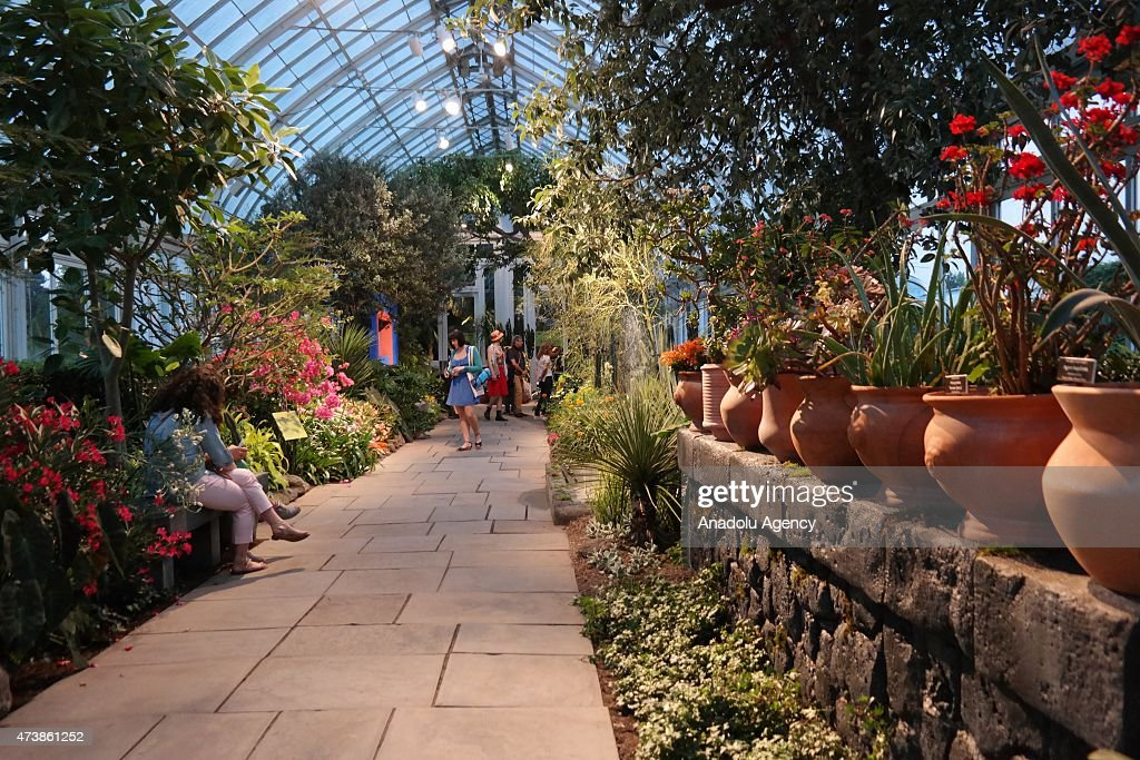 People visit the New York's Botanical Garden's exhibition Frida Kahlo Art Garden Life focuses on the artist's engagement with nature in her native...