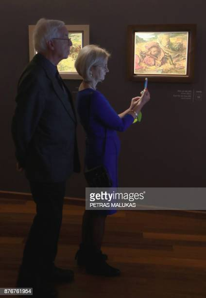 People visit the the opening of the museum of painter and Holocaust survivor Samuel Bak's allegorical work inspired by Jewish history in the...