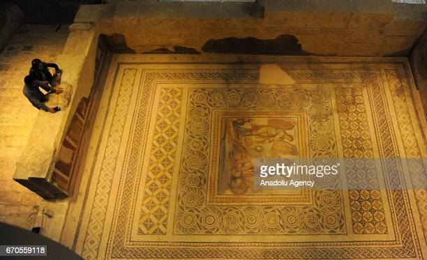 People visit Zeugma Mosaic Museum in Gaziantep Turkey on April 15 2017 Gaziantep Metropolitan Municipality made an attempt to bring back the missing...