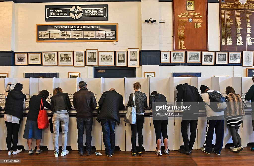 People vote at a voting station in the Sydney suburb of Bondi Beach on July 2, 2016. Australians flocked to vote in the national election with conservative leader Malcolm Turnbull appearing to have a slight edge over Labor's Bill Shorten, culminating a marathon race where economic management has become a key issue in the wake of the Brexit vote. / AFP / WILLIAM