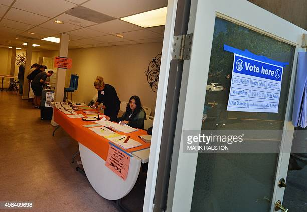 People vote at the Stricklin/Snively Mortuary which becomes a polling station during midterm elections in Long Beach California on November 4 2014...
