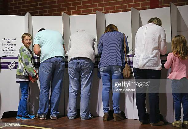 People vote in the electorate of Corangamite on election day on September 7 2013 at Mandama Primary Grovedale in Geelong Australia The marginal seat...