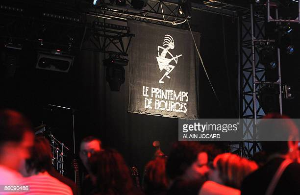 People wait for a concert to start in Bourges central France on April 21 the first day of the 33rd edition of 'Le printemps de Bourges' rockpop...