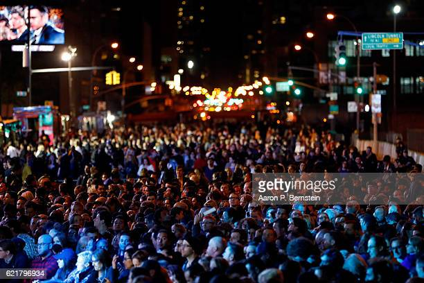 People wait for results outside the Jacob K Javits Convention Center where Democratic presidential nominee former Secretary of State Hillary Clinton...