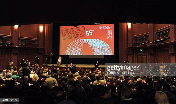 People wait for the opening ceremony of the 55th Thessaloniki International Film Festival on October 31 2014 in the northern Greek city The 55th TIFF...