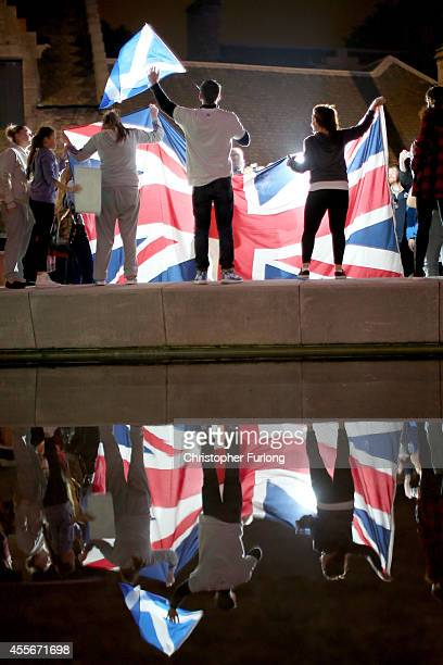 People wait for the result outside the Scottish Parliament as voting in the referendum closes on September 18 2014 in Edinburgh Scotland Scotland...