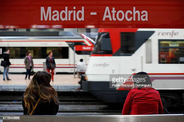 People wait for trains at Atocha railway station during the 10th anniversary of Madrid train bombings on March 11 2014 in Madrid Spain Spain's worst...