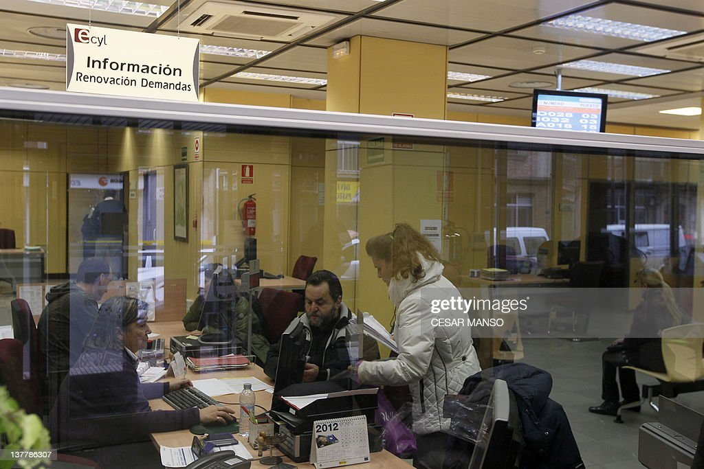 People Wait In A Government Employment Office Burgos On January 27 2012 Spains