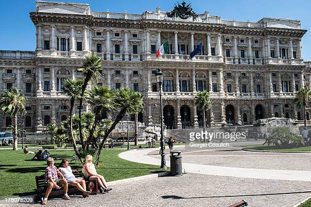People wait in front of the 'Corte di Cassazione' during the final session to judge former Italian Prime Minister Silvio Berlusconi on July 31 2013...
