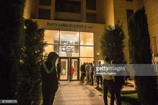 People wait in front of the Czech footballer Frantisek Rajtoral's home after he was found dead in his home in an apparent suicide in Gaziantep Turkey...