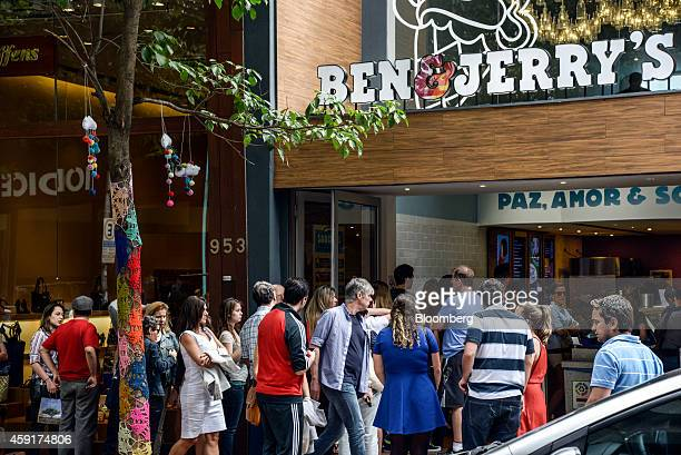 People wait in line outside a Ben Jerry's store in Sao Paulo Brazil on Saturday Nov 15 2014 After some chains failed in their previous attempts to...