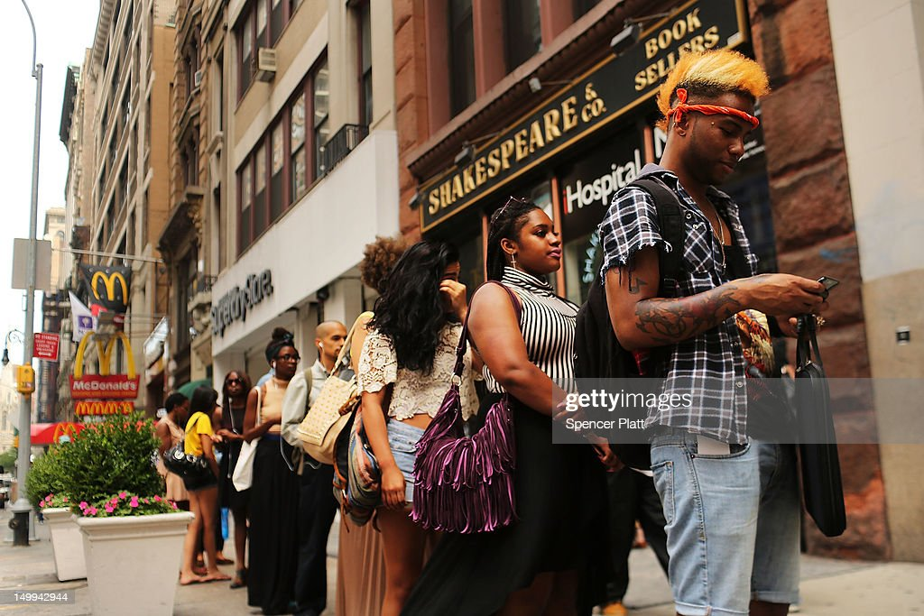 People wait in line to be interviewed for positions at an American Apparel clothing store on August 7, 2012 in New York City. In a further sign that the American economy may be improving the U.S. labor Department said Tuesday that employers posted the most job openings in four years in June. The data comes after FridayÕs news that said employers in July added the most jobs in five months.