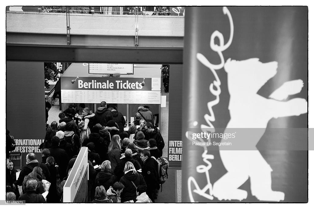 People wait in line to buy tickets for films in the 63rd Berlinale International Film Festival on February 9, 2013 in Berlin, Germany.