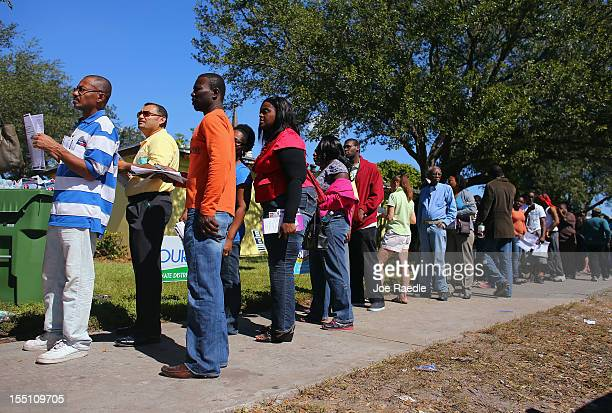 People wait in line to vote at the North Miami Public Library on November 1 2012 in North Miami Florida Voters are complaining about hours long waits...