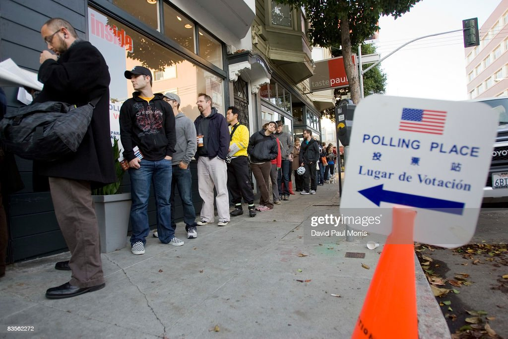 People wait in line to vote in the Hayes Valley district on November 4, 2008 in San Francisco, California. After nearly two years of presidential campaigning, U.S. citizens go to the polls today to vote in the election between Democratic presidential nominee U.S. Sen. Barack Obama (D-IL) and Republican nominee U.S. Sen. John McCain (R-AZ).