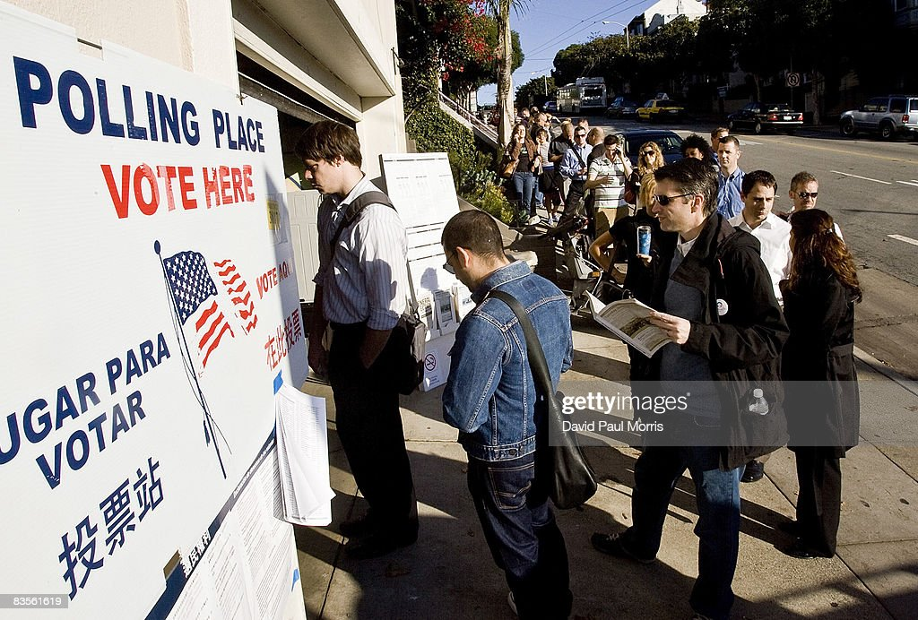 People wait in line to vote on Castro Street on November 4, 2008 in San Francisco, California. After nearly two years of presidential campaigning, U.S. citizens go to the polls today to vote in the election between Democratic presidential nominee U.S. Sen. Barack Obama (D-IL) and Republican nominee U.S. Sen. John McCain (R-AZ).