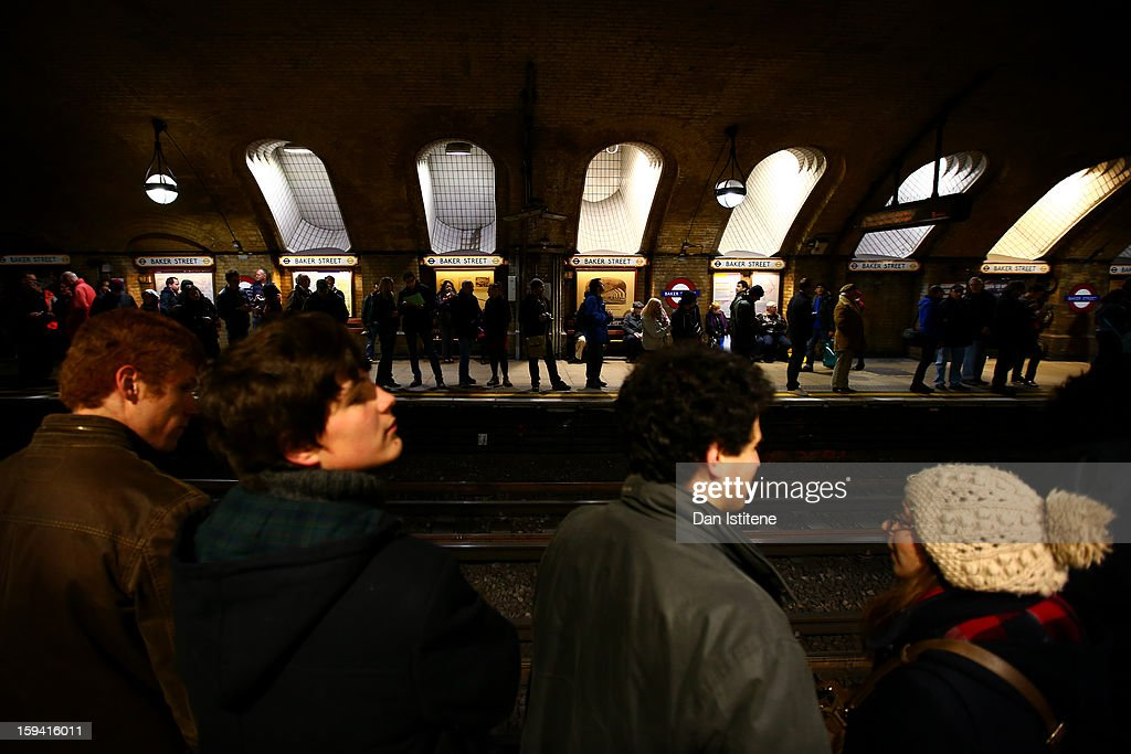 People wait on the platforms to see the newly restored steam engine built in 1898, known as Met Locomotive No. 1, arrive at Baker Street Underground station in a recreation of the first London Underground journey on January 13, 2013 in London, England. The London Underground celebrates its 150th birthday this month, the Metropolitan line being the first stretch between Paddington and Farringdon stations.