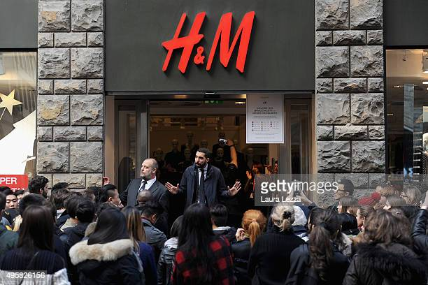 People wait to enter HM store during the Balmain For HM Collection Launch on November 5 2015 in Florence Italy