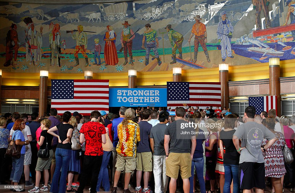 People wait to hear Democratic Presidential candidate Hillary Clinton speak at the Cincinnati Museum Center at Union Terminal June 27, 2016 in Cincinnati, Ohio. Elizabeth Warren is helping Clinton campaign in Ohio.