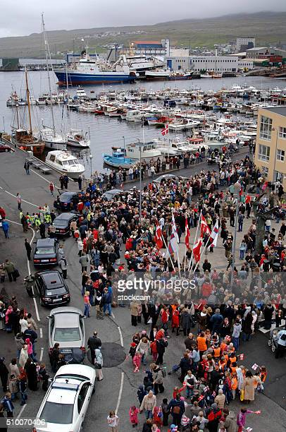 People waiting for Queen Margarethe II, Torshavn, Faroe Islands, Denmark