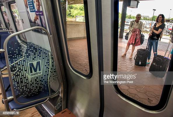 People waiting for their train get a surprise look at the gleaming new model as Metro tests out their new 7000 series subway cars on May 2014 in...