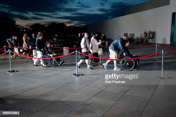 People waiting in the 3 plus hour line to pay respects to Senator Edward M Kennedy at the John F Kennedy Library in Boston MA on August 27 2009...