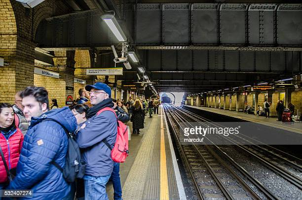 People waiting the metro subway in London