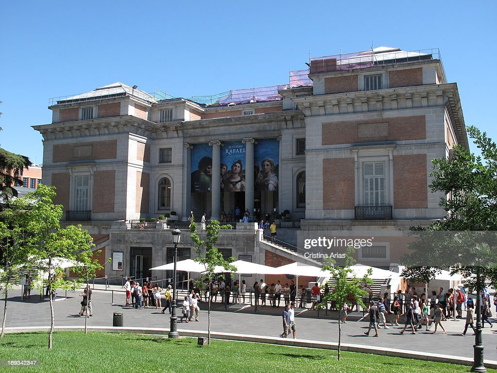 People waiting to access a temporary exhibition on the painter Rafael organized by the Prado Museum in Madrid Spain