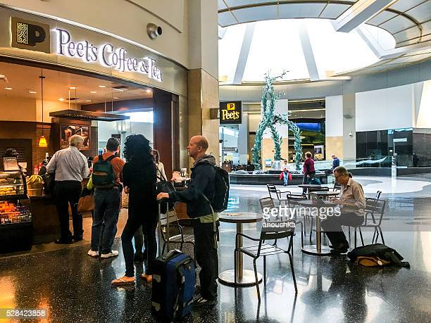 People waiting to buy coffee at San Diego Airport